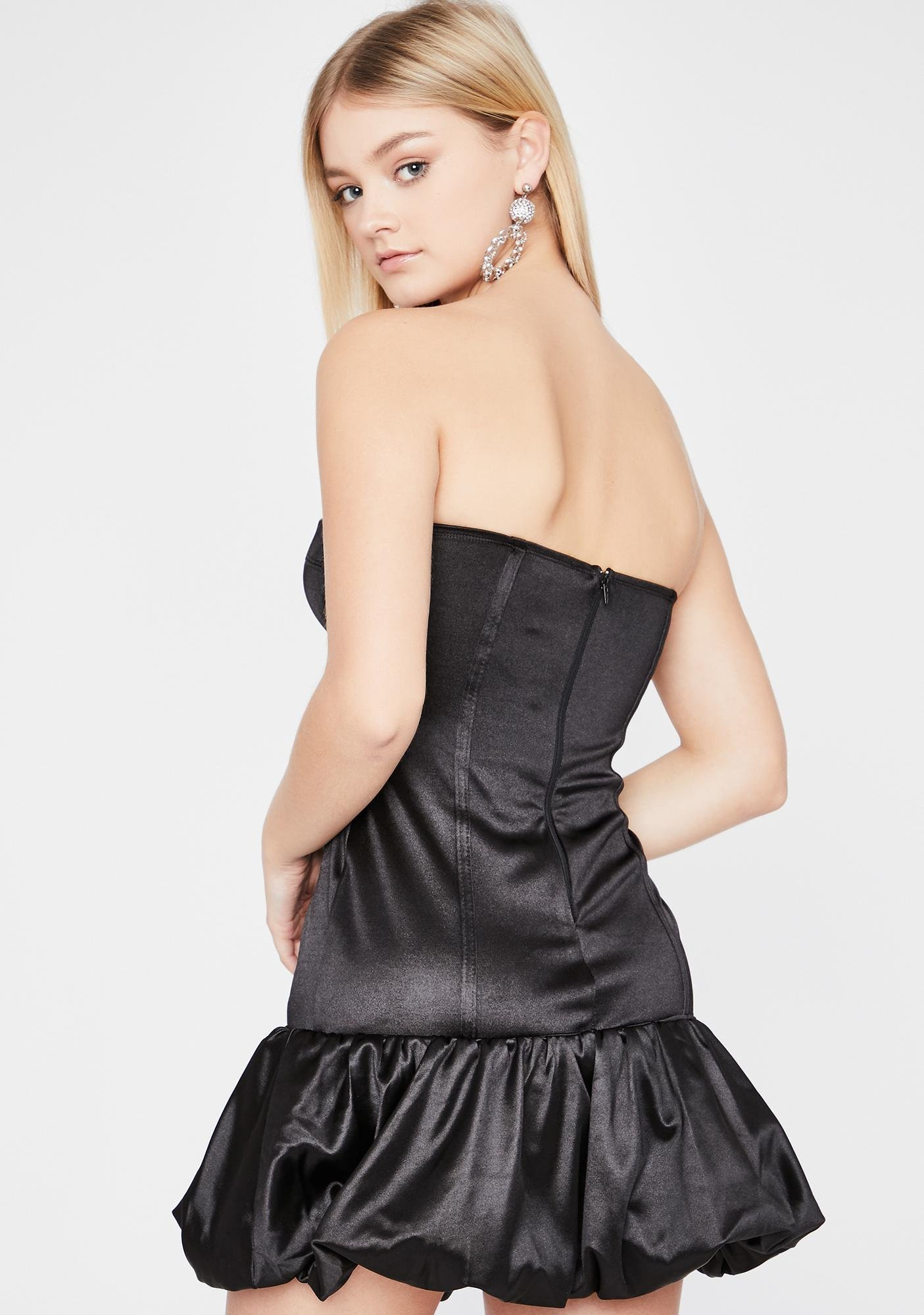 Midnight Late Night Date Satin Dress