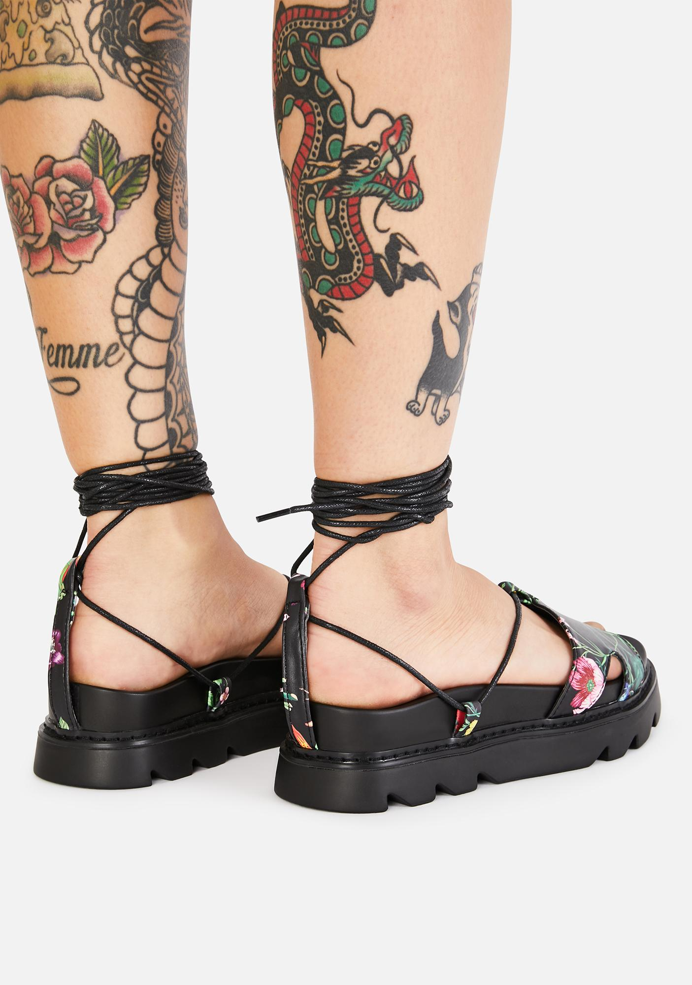 Lamoda Wicked Throwing Nightshade Lace Up Sandals