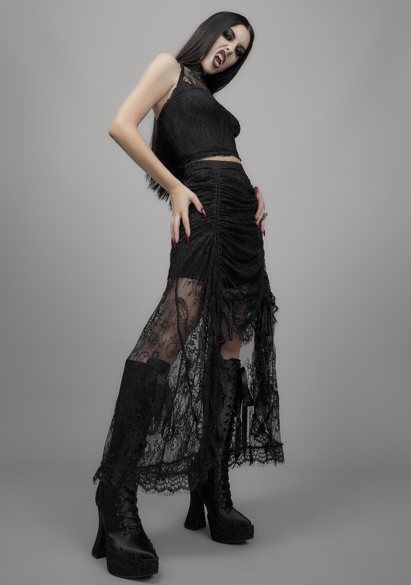Widow Grave Importance Lace Midi Skirt