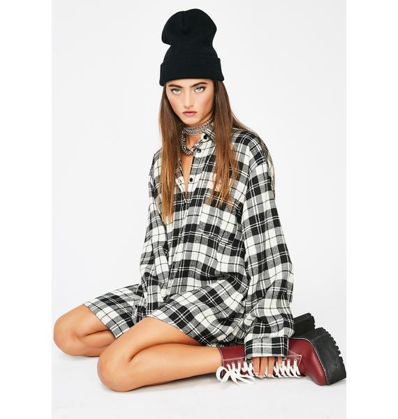 Midnight Flexin Hard Flannel Top