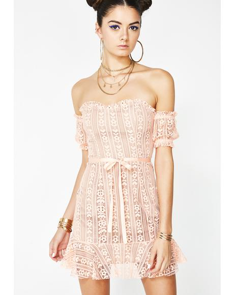 Peach Dakota Lace Mini Dress