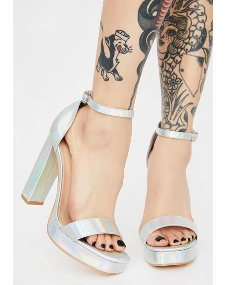 Mercury Make An Entrance Holographic Heels