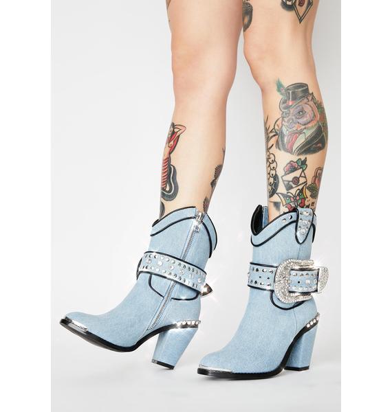 Club Exx Chambray Sheriff Shine Cowboy Boots