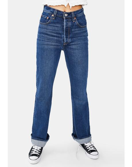 Turn Up Ribcage Boot Cut Jeans