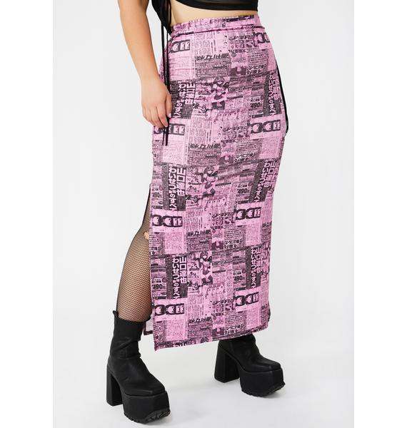 NEW GIRL ORDER Plus Newspaper Maxi Skirt