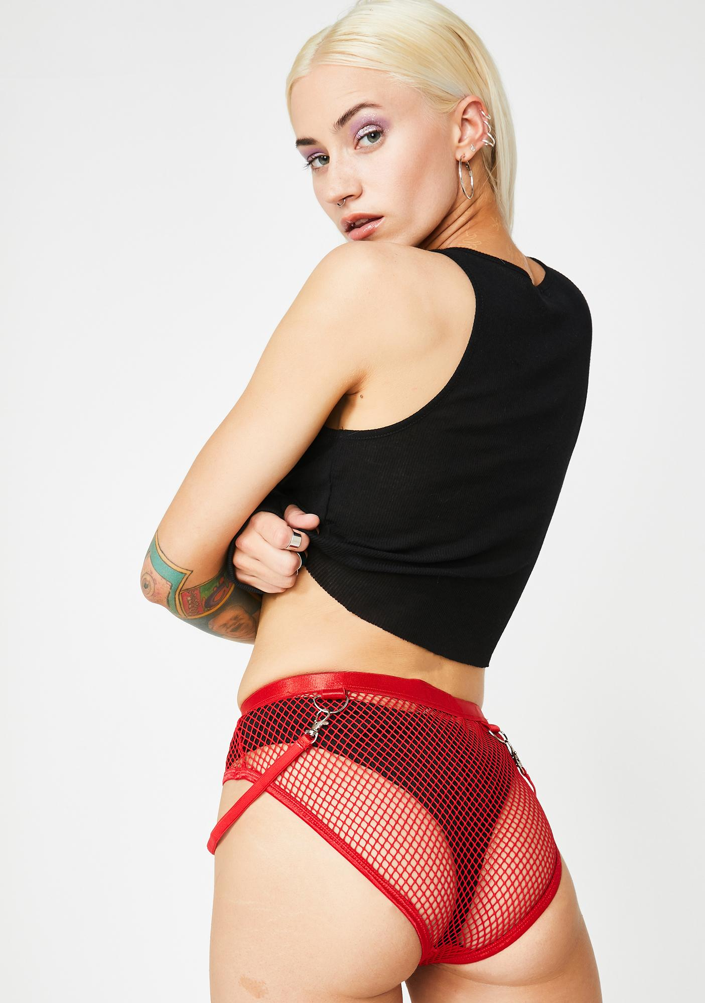 Club Exx Hot Tempo Fishnet Booty Shorts