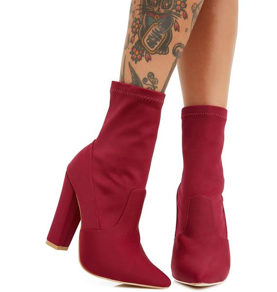 Wine All Eyes On You Heeled Boots