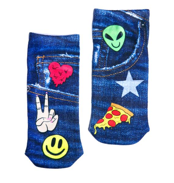 Denim Patch Ankle Socks