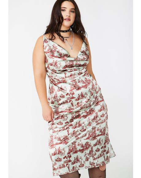 Plus Wedgewood Satin Maxi Dress