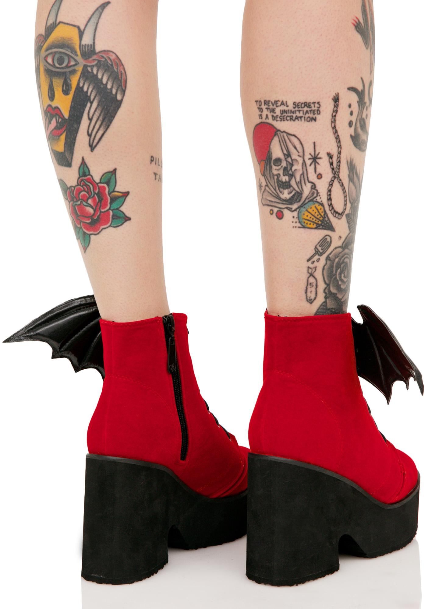 Iron Fist Blood Red Bat Wing Boots