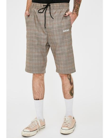 Mens Plaid Drawstring Shorts