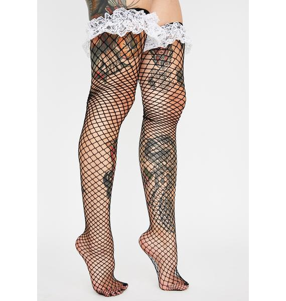 At Your Service Fishnet Thigh Highs