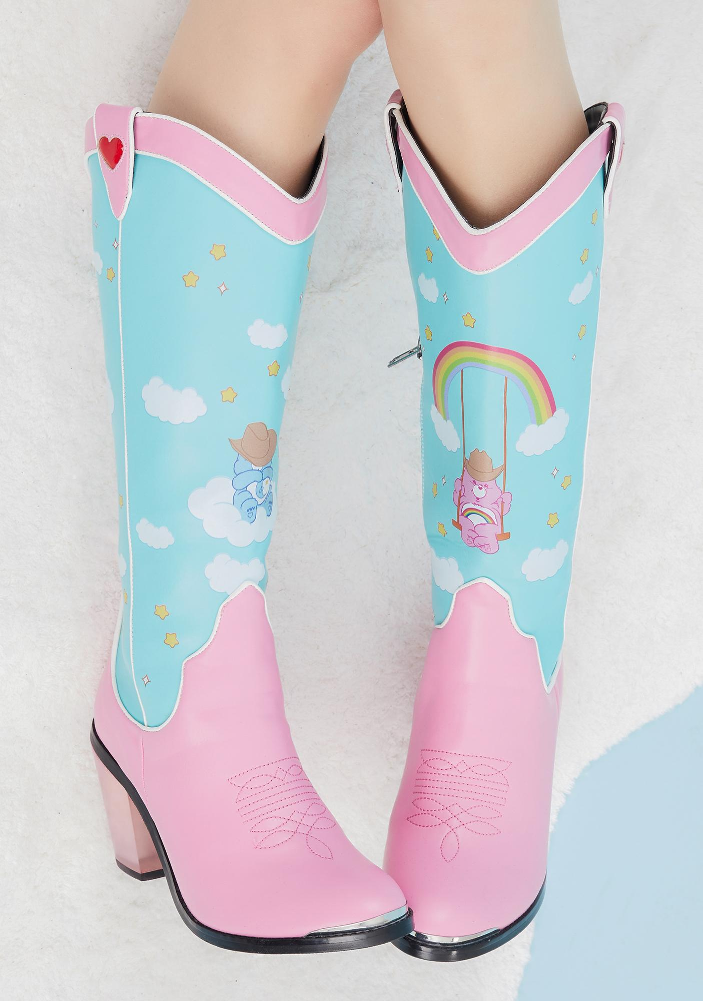 Dolls Kill x Care Bears Rainbow Roundup Cowboy Boots