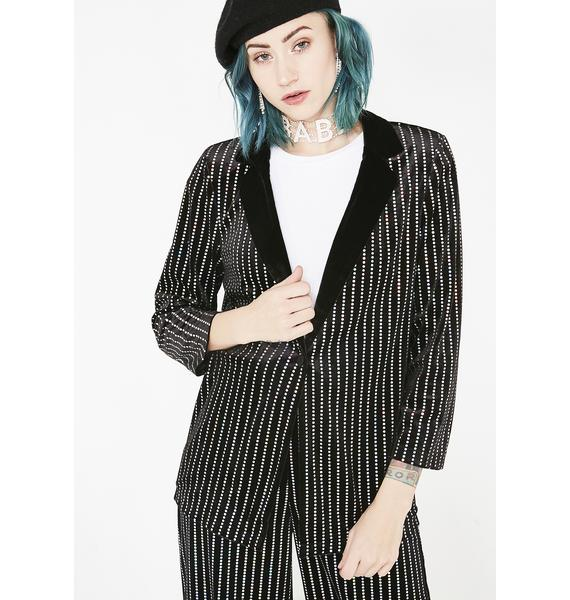 Jaded London Sequin Stripe Velvet Suit Jacket