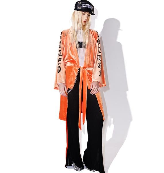 Jaded London Orange Velvet Kimono