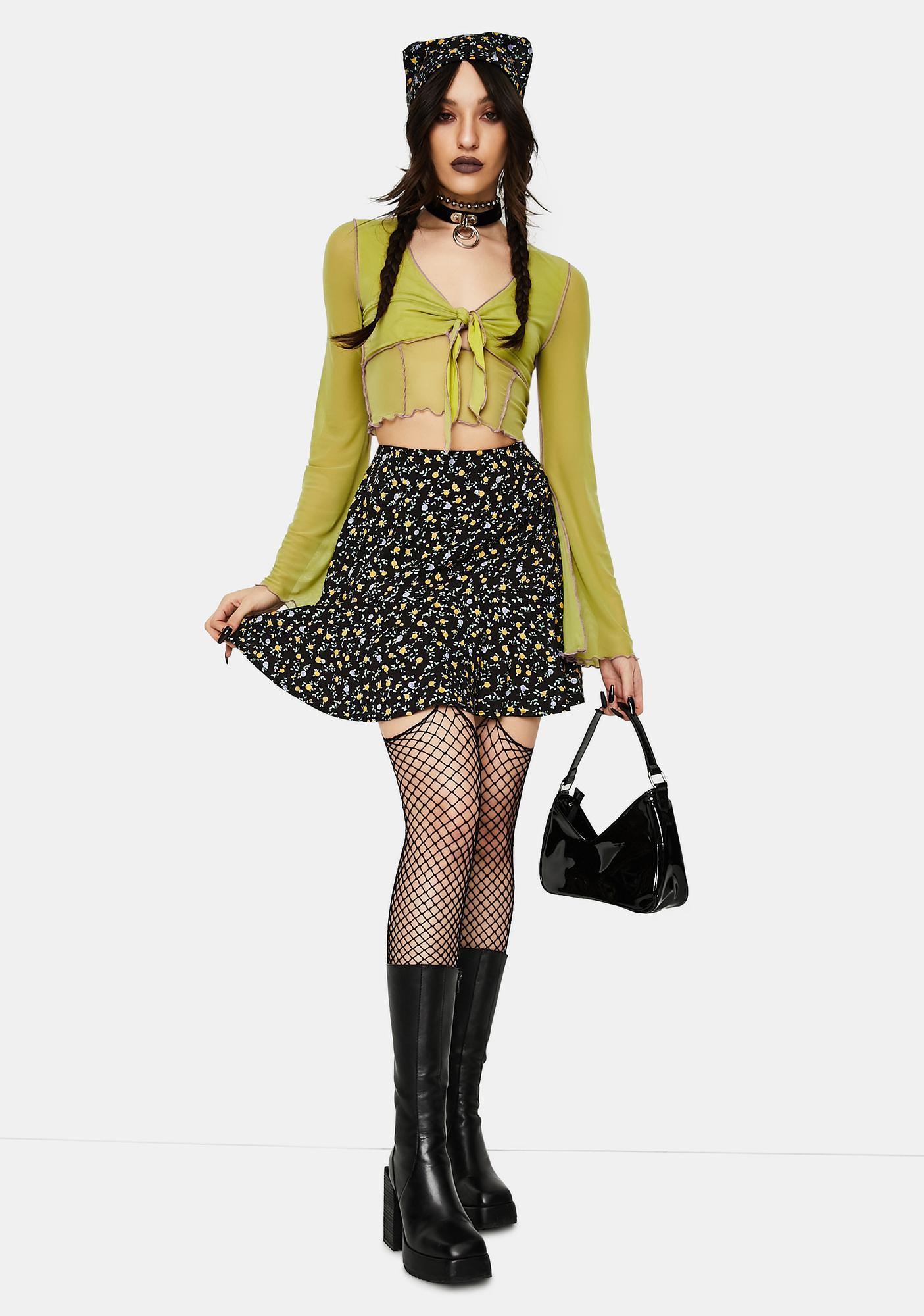 Motel Flowing Flower Gaelle Mini Skirt