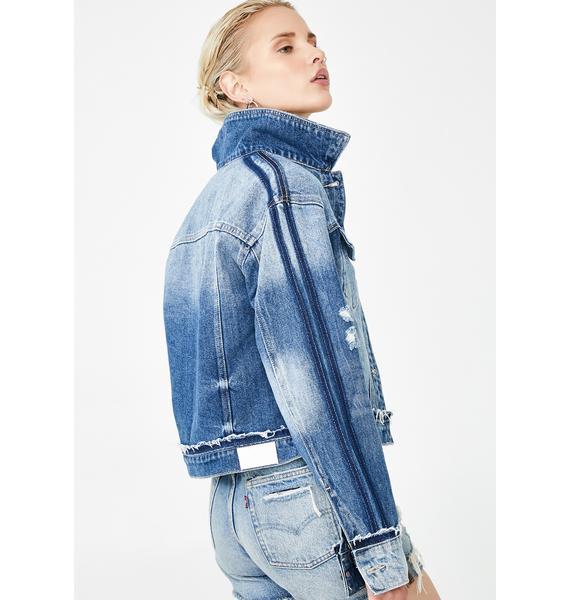 Hidden Denim Medium Wash Cropped Detailed Jacket