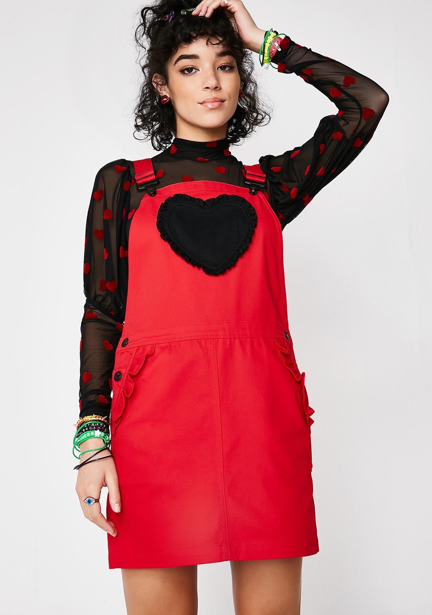 198519d3ae Lazy Oaf Frilly Heart Pocket Pinny Dress