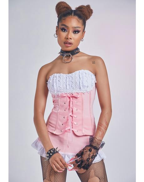Dates With You Lace-Up Corset Top