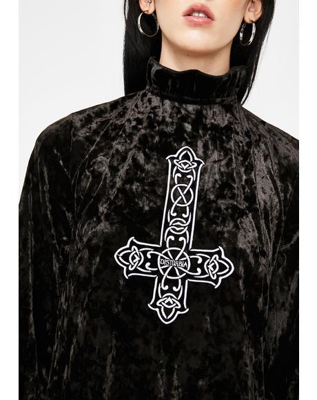 Crucifix Velour Dress