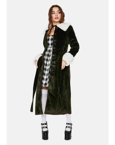Olive Collegiate Sass Faux Fur Trench Coat