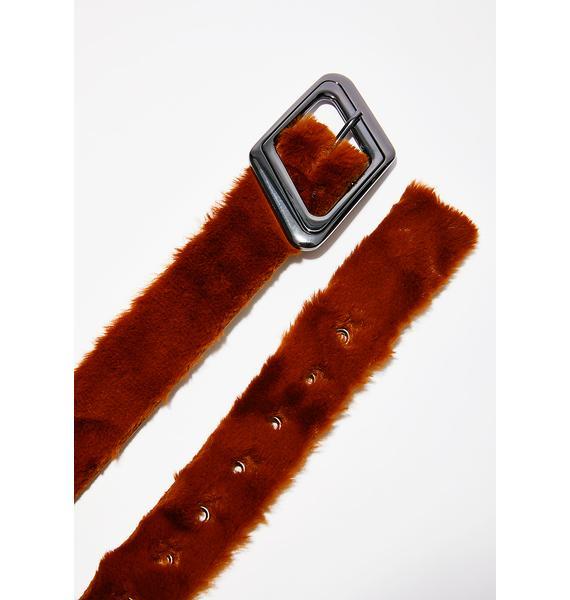 Cognac Embrace This Fuzz Belt