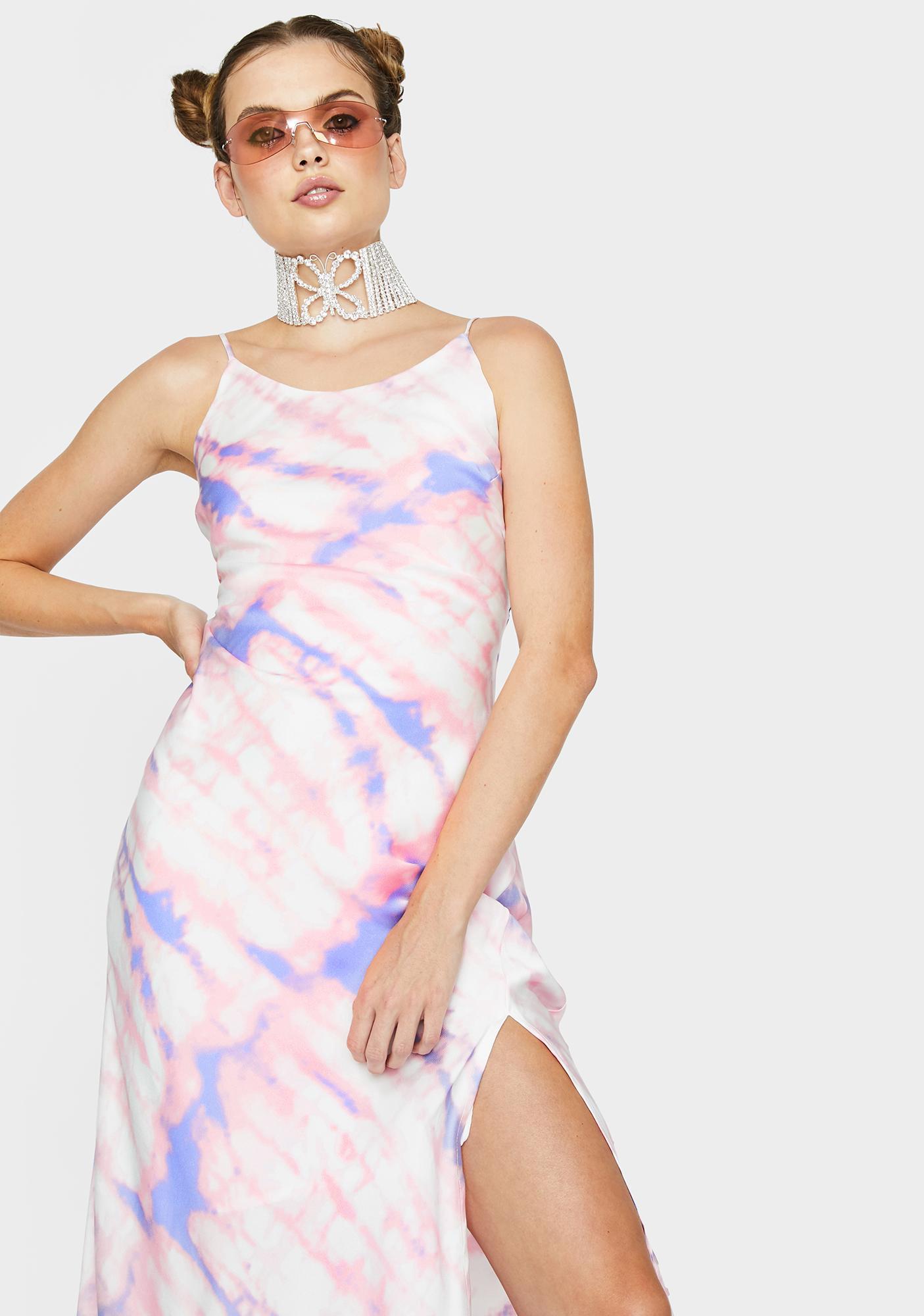 ASTR THE LABEL Bias High Neck Midi Dress