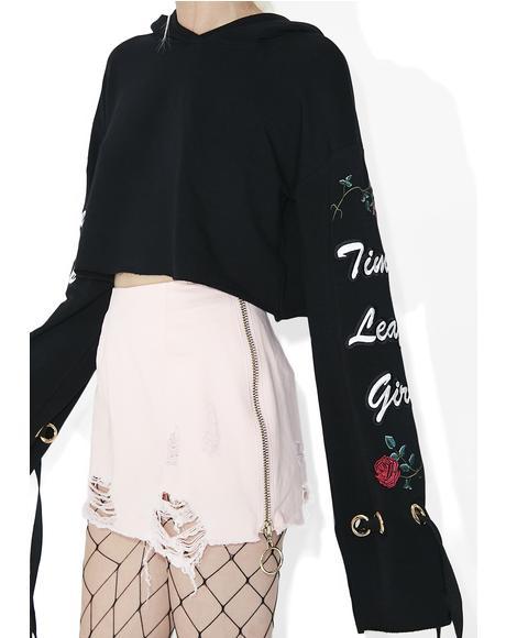 Side Zip Distressed Skirt