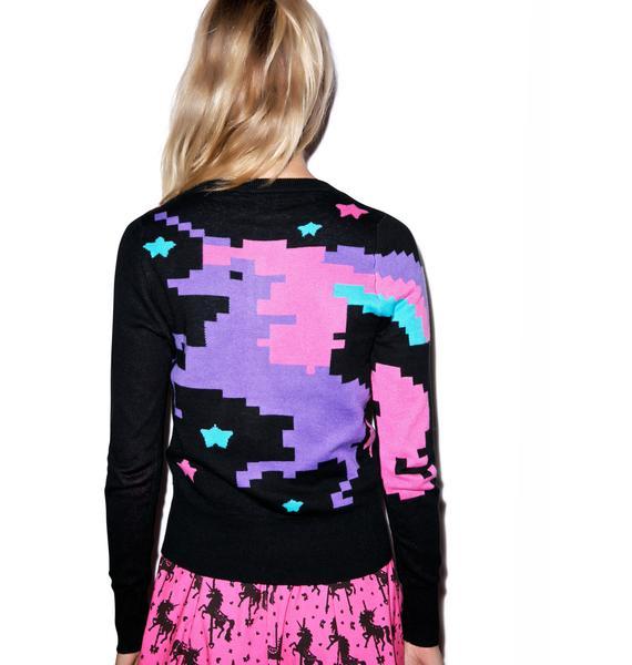 Too Fast Pixel Unicorn Knit In Cardigan