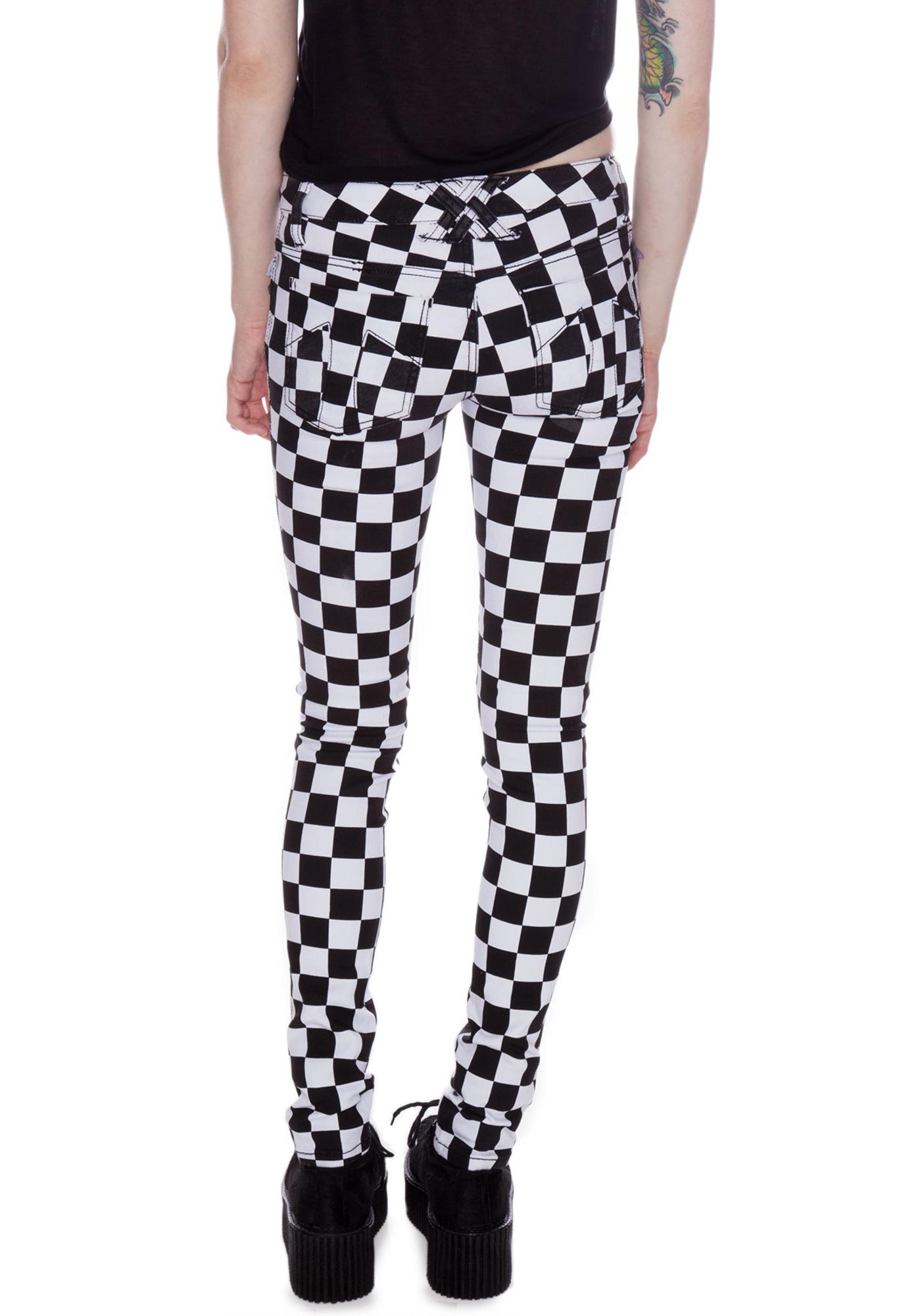 Tripp NYC Dyed Checkered Jeans