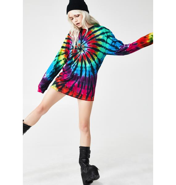 Liquid Blue Rainbow Spiral Long Sleeve Tee