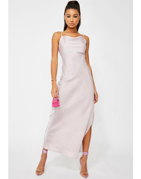 Lilac Metallic Maxi Dress