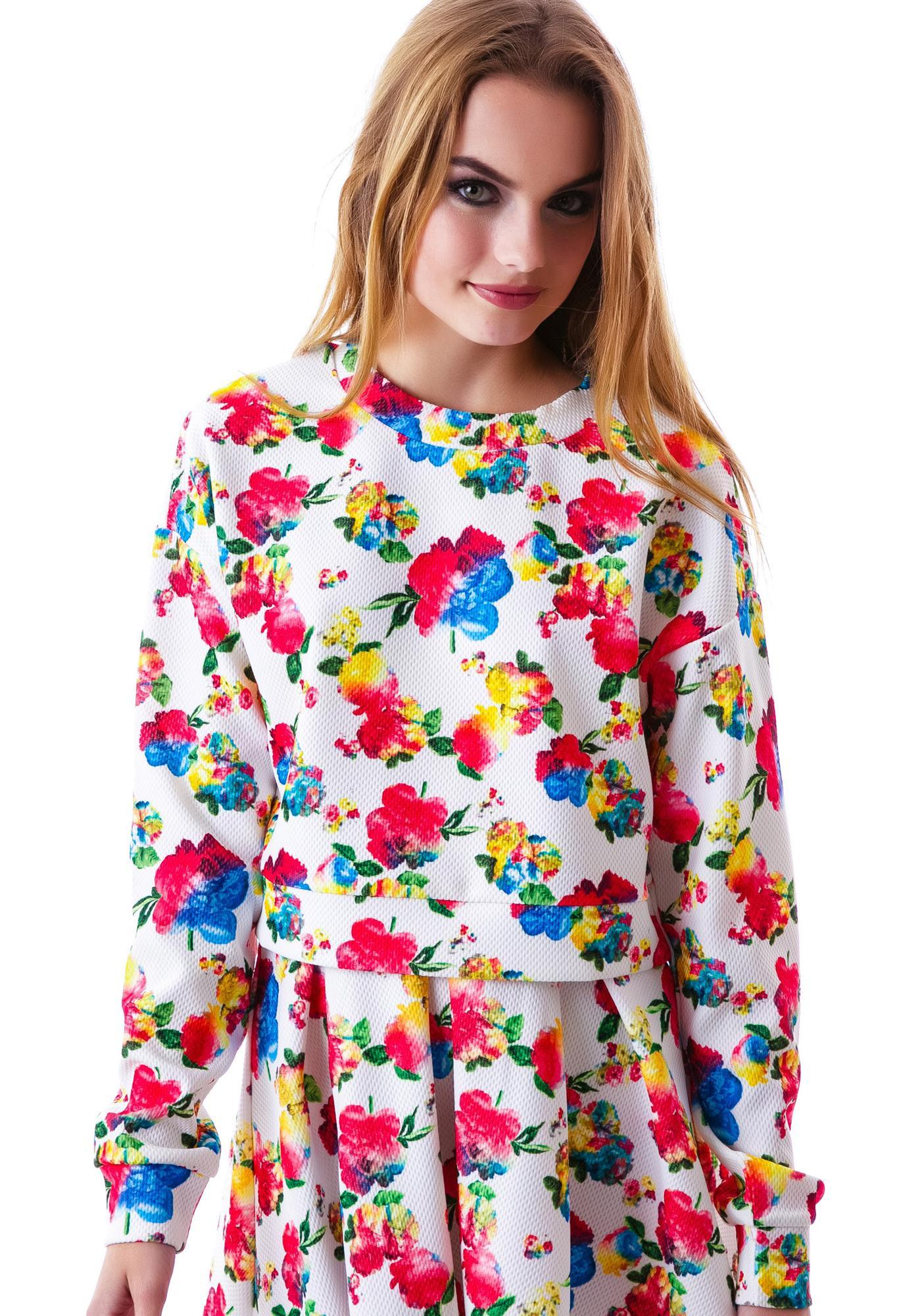 Floral Wonder Waffle Sweater