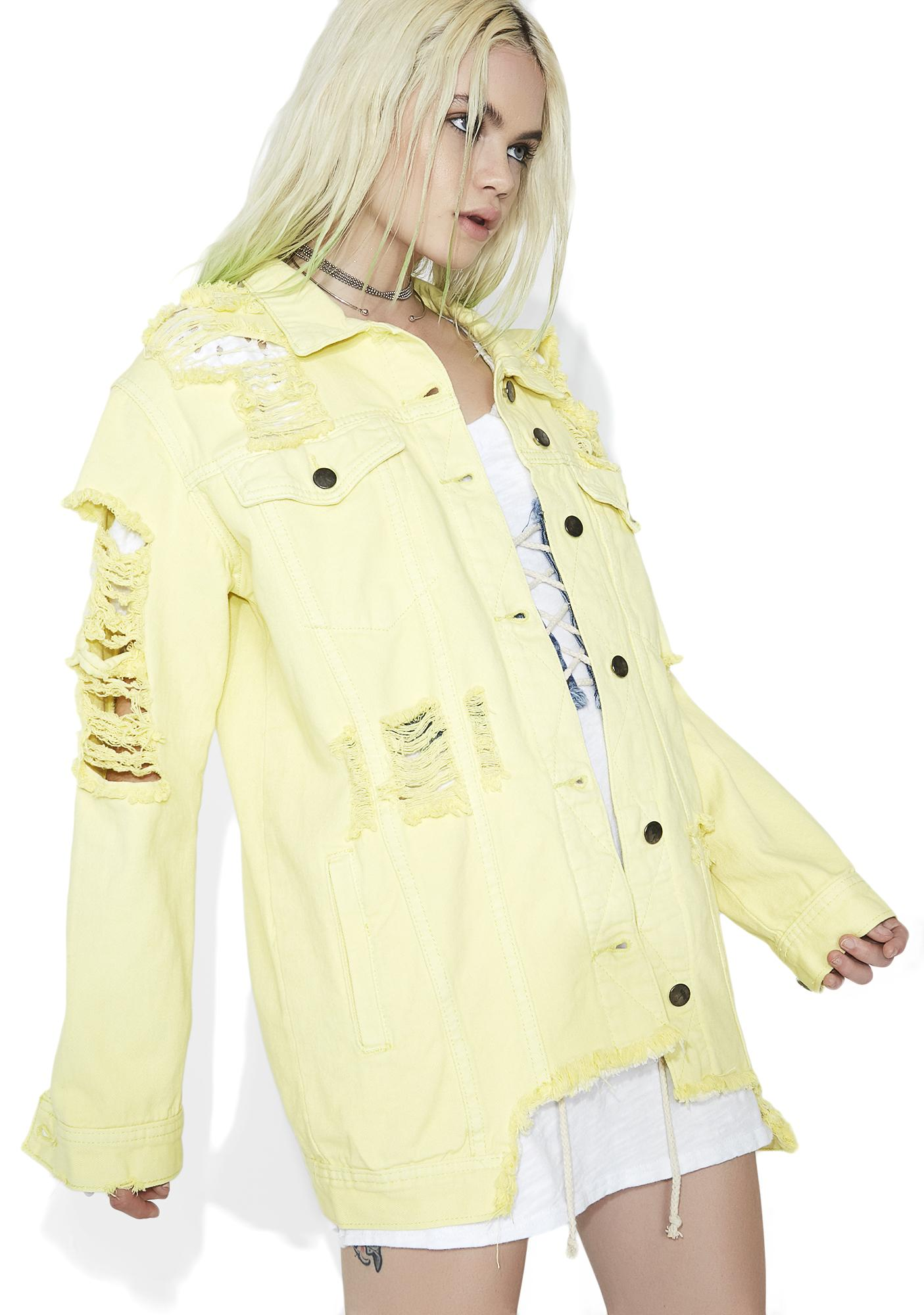 Citrus Sucker Distressed Denim Jacket