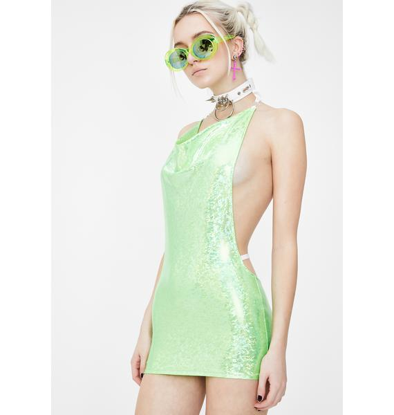 Shay Kawaii Green Mermaid Holographic Mini Dress