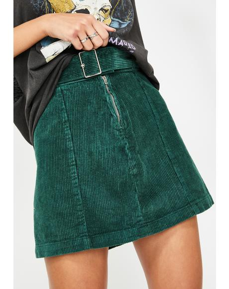 Emerald Corduroy Belted Mini Skirt