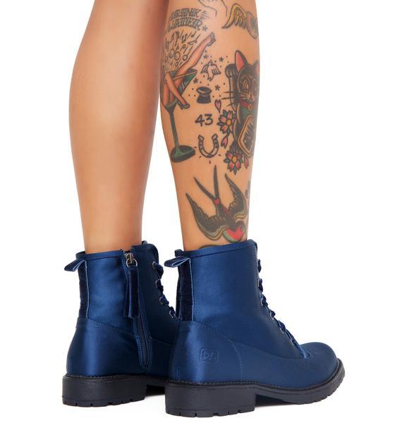 Sapphire Hide N' Sleek Satin Boots
