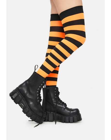 Make U Pay Striped Thigh Highs
