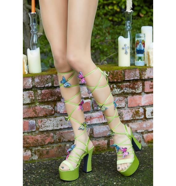 Sugar Thrillz Forest Pixie Queen Lace-Up Heels