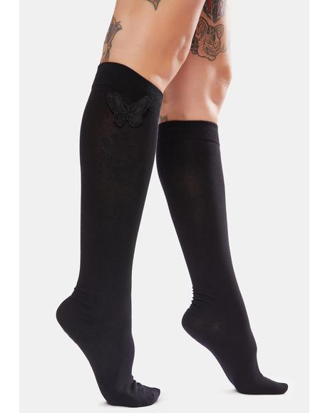 Onyx Eyes Wide Open Knee High Socks