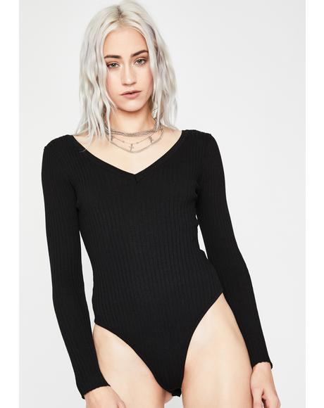 Dark Heart To Break Ribbed Bodysuit
