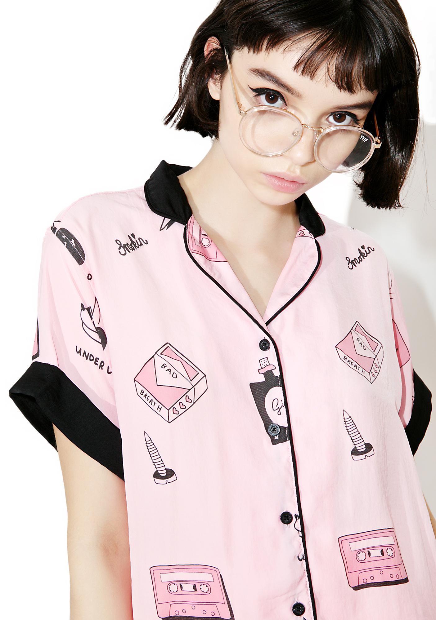 Lazy Oaf Bad Girl Satin Shirt