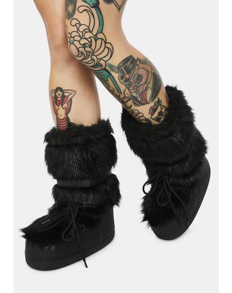 Onyx Baddie Burr Fuzzy Boots