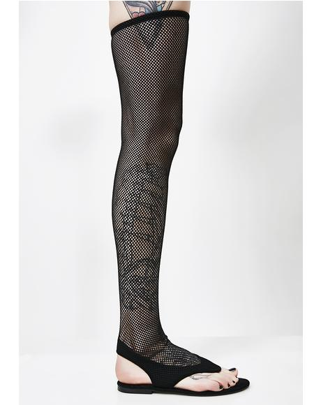 Beach Goth Thigh High Fishnet Sandals