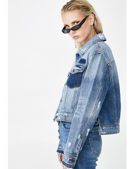 Medium Wash Cropped Detailed Jacket