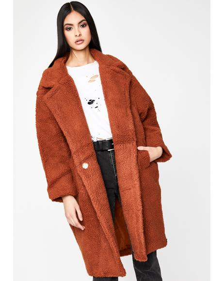 Rust Jet Setter Lifestyle Teddy Coat