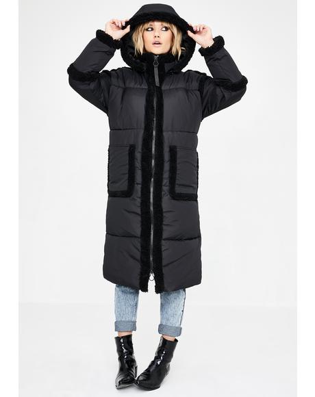 Fleece Trim Longline Puffer Coat