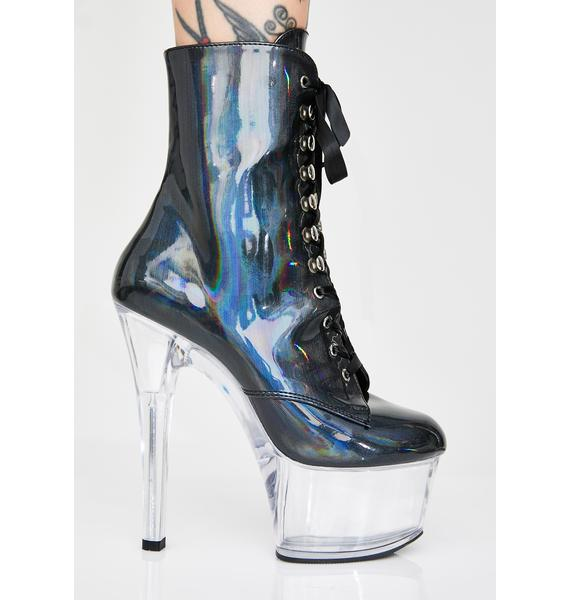 Pleaser Night Plastic Life Hologram Platform Heels