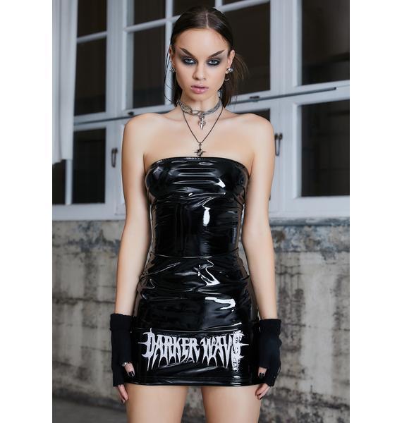 DARKER WAVS Kickdrum Patent Strapless Mini Dress