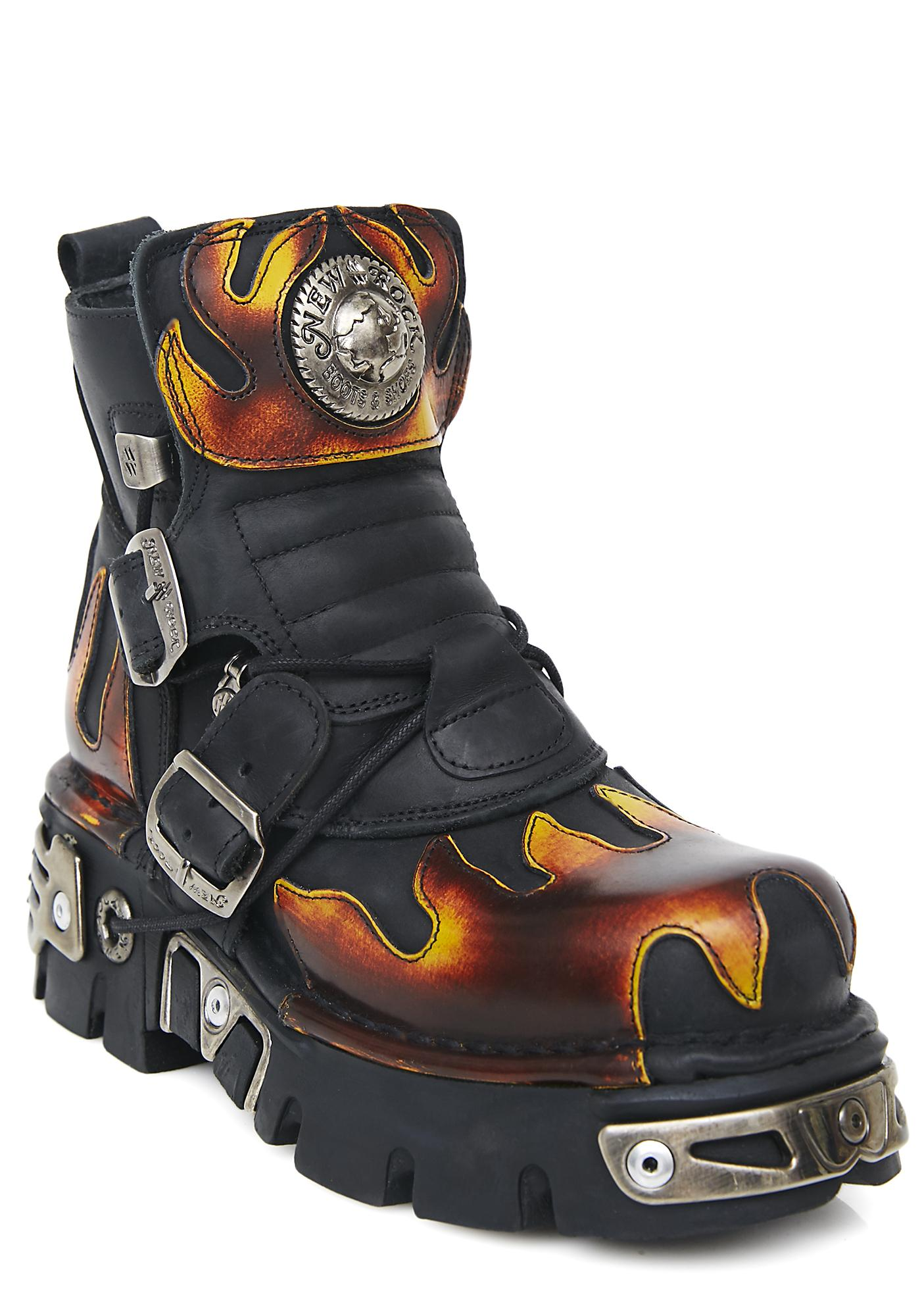 New Rock World On Fire Boots